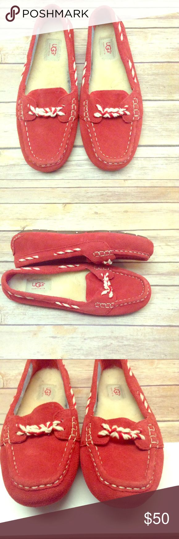 UGG Australia W Genoa moccasin Like new, red suede, fleece lined loafers. Uber cute and comfy!!!! UGG Australia Shoes Flats & Loafers