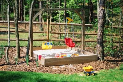 DIY Backyard Playground Equipment- this setup, attach beam to two trees in middle of driveway, sandbox underneath?