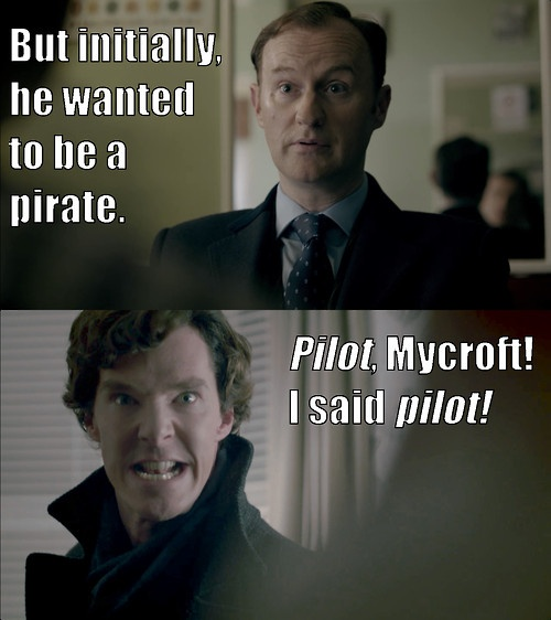 BBC Sherlock & Mycroft, Cabin Pressure, Cabinlock - He wanted to be a pilot image