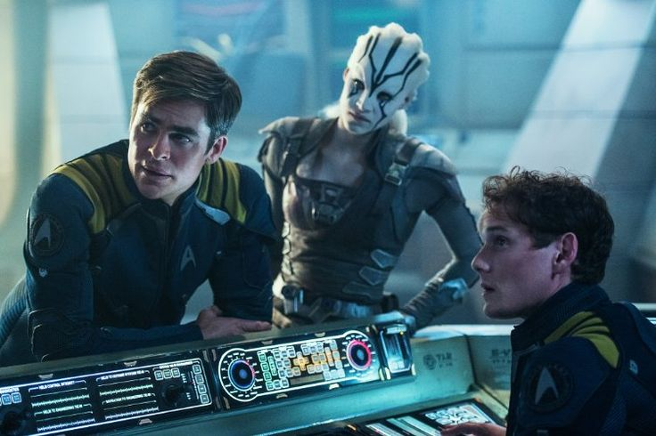 Chris Pine (Kirk), Sofia Boutella (Jaylah) and Anton Yelchin (Chekov)  in Star Trek Beyond (2016)