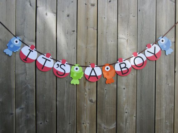 IT'S A BOY Gone Fishing Theme Banner  Fish by lilcraftychickadee