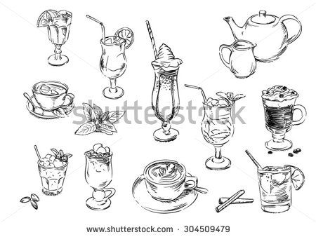 Sketches of food: drinks - stock vector