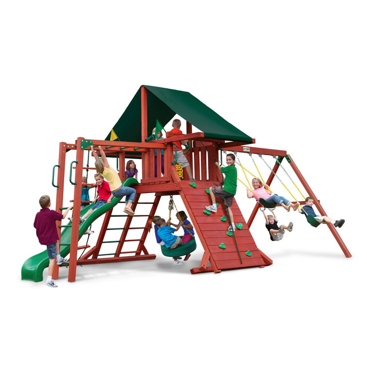 gorilla playsets sun climber ii wood swing set with canvas green