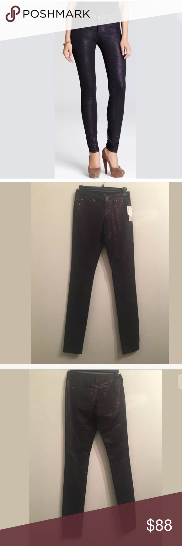 NWT $88 AQUA C17 Black and Purple Skinny Pants 24 NWT $88 AQUA C17 Black and Purple Skinny Pants Size 24  Your satisfaction is our #1 priority. This is why we ship twice daily Monday thru Saturday to get the item to you as quickly as possible!! :). If for any reason you are not100%satisfied please message us and we will work with you to make it right!!    Measurements: Waist: approx. 24 inches Inseam: approx. 31 inches  -Retails Price: $88 + TAX Aqua Pants Skinny