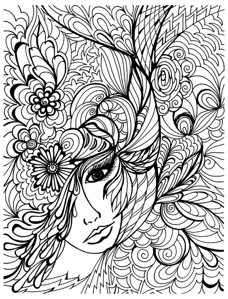 natural woman face doodle intricate advanced coloring