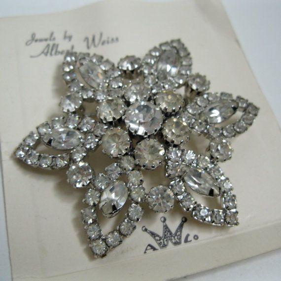 Vintage 1950s Weiss Brooch Rhinestone Wedding Pin on Card Bridal Fashions                                                                                                                                                                                 More