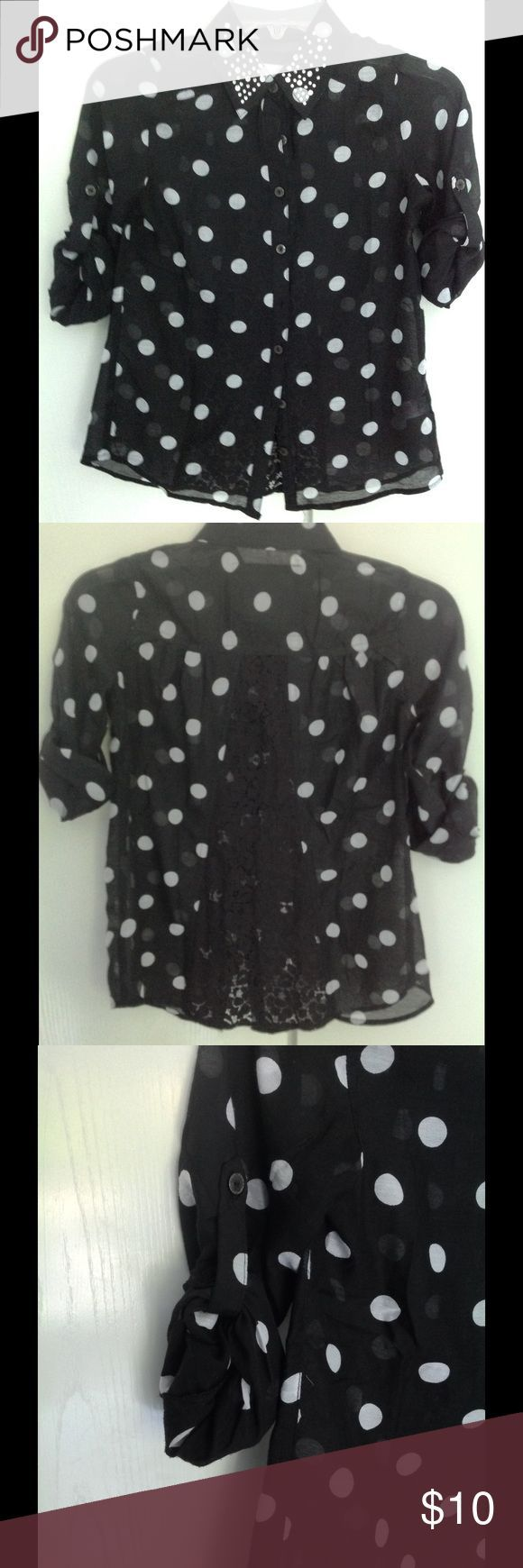 WEEKEND SALE! Black sheer blouse Justice Roll up sleeves that can ban be worn buttoned up or rolled down.  Gorgeous lace accent on the back.  Rhinestones on the collar.  Sheer Justice Shirts & Tops Blouses - pale blue blouse, the white blouse, the white blouse *sponsored https://www.pinterest.com/blouses_blouse/ https://www.pinterest.com/explore/blouse/ https://www.pinterest.com/blouses_blouse/red-blouse/ http://www.rosegal.com/blouses-34/