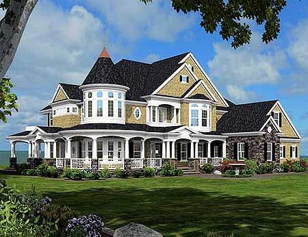 Architectural Designs--Plan W23500JD Magnificent Shingle Style Victorian. Nice floor plan.