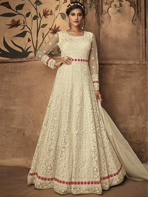 f4149278d7e Adorable off white partywear anarkali suit online which is crafted from net  fabric with exclusive embroidery
