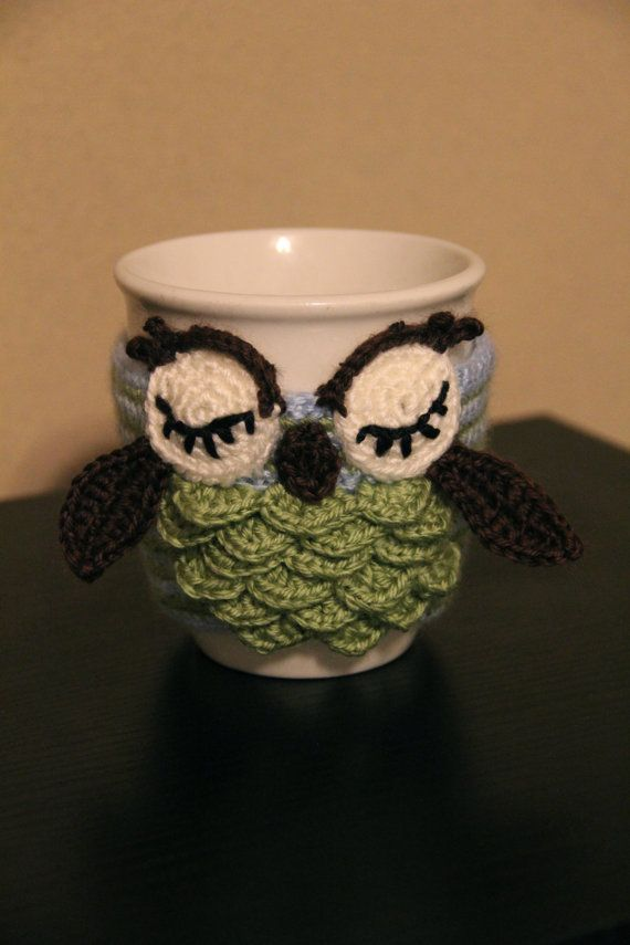 crochet Owl Mug Cozy, coffee cup cozy , crochet cup sleeve on Etsy, $20.00