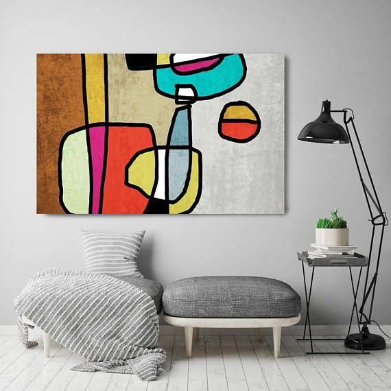 Vibrant Colorful Abstract-0-14. Mid-Century Modern Green Red Canvas Art Print, Mid Century Modern Canvas Art Print up to 72″ by Irena Orlov