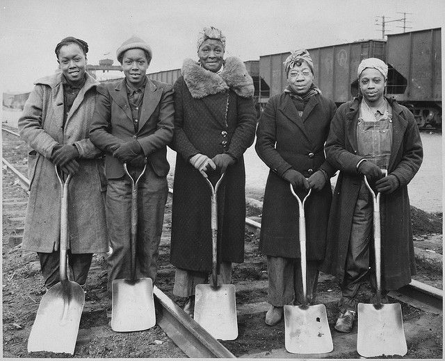 Trackwomen, 1943. Baltimore & Ohio Railroad Company, 1940-1945 by The U.S. National Archives