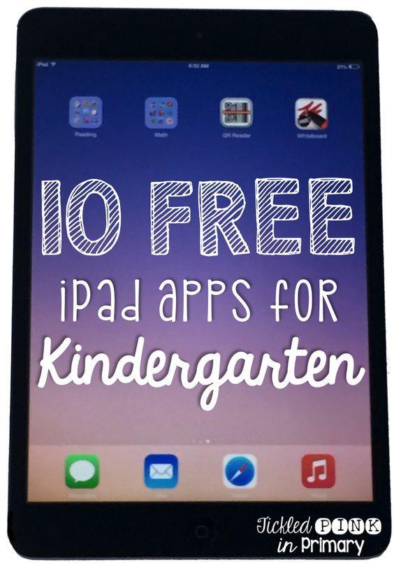 10 FREE iPad apps for Kindergarten  http://www.tickledpinkinprimary.com/2015/07/10-free-apps-for-kindergarten.html