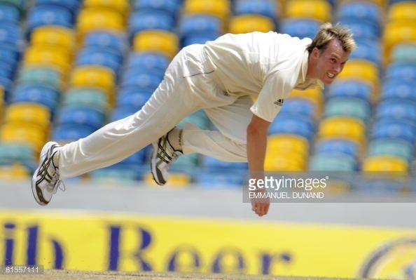 News Photo : Australian bowler Brett Lee delivers a ball,...