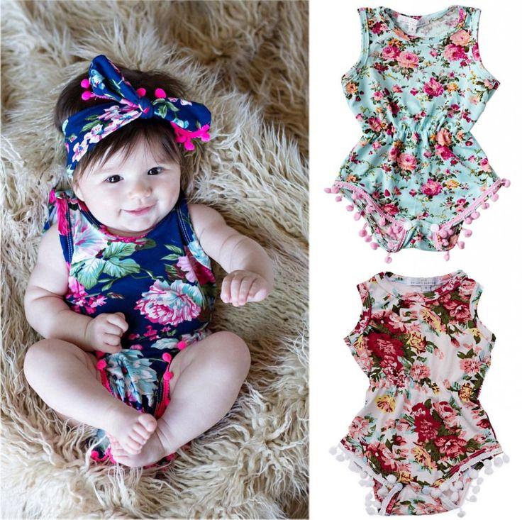 Toddler Newborn Baby Girls Floral Romper Jumpsuit Sunsuit Clothes Set