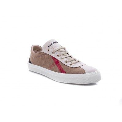 BURBERRY - Sneakers bassa in canvas check e pelle bianco - Elsa-boutique.it <3