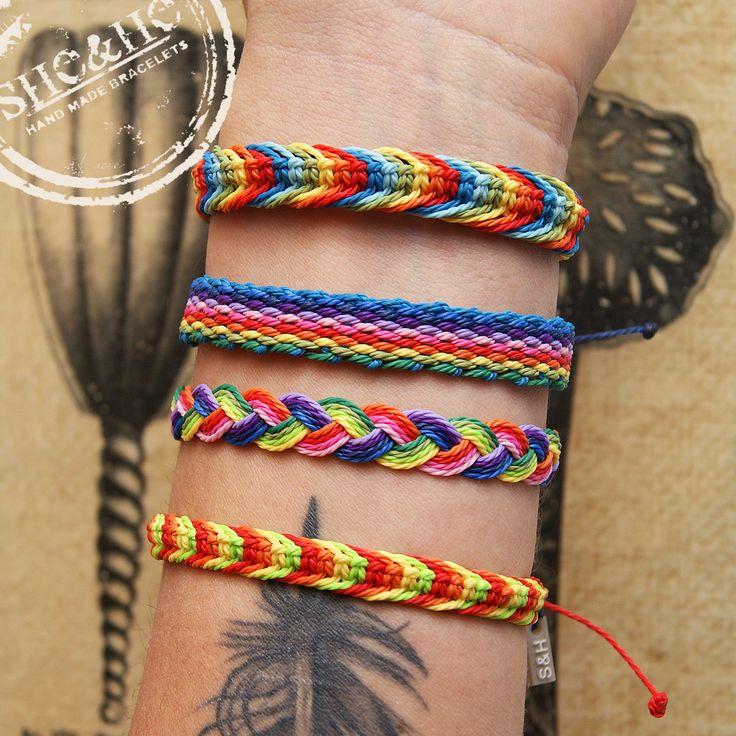 hand made rainbow bracelets, rainbow, strings bracelets, boho style, boho girl, boho diy