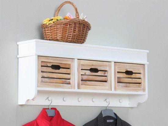 Kapstok meubel wit met houten manden 'Welkom'