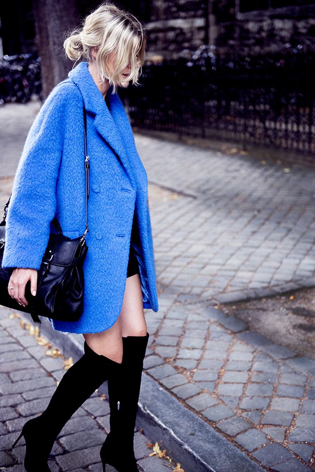 Over the knee boots and an amazing coat? Fall's looking fab.