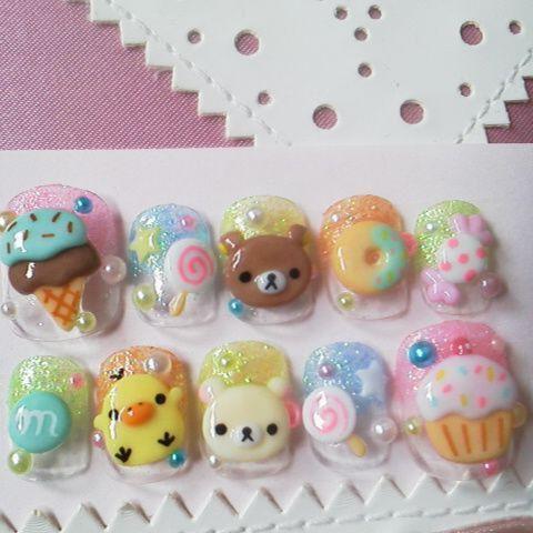 Japanese nail art sweety yummy by ohimenail on Etsy, $20.00