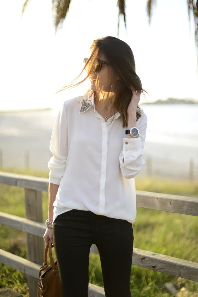 How I would do the bedazzled peterpan collar shirt.
