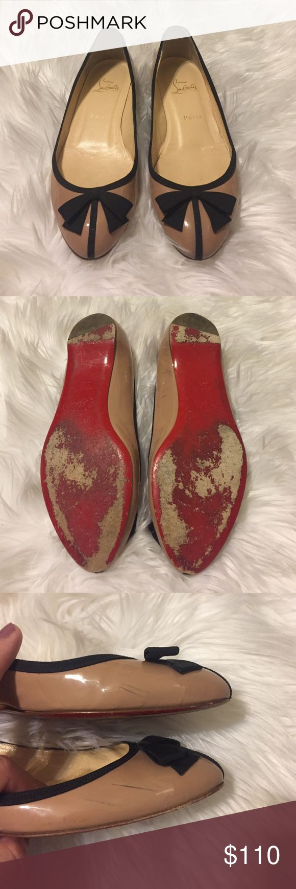 Christian Louboutin flats Tan and black Louboutin flats. Bought these from another posher but they are too tight. The posher I bought from said they are authentic. There are a few small scuffs as pictured above. Still have a lot of life left! Christian Louboutin Shoes