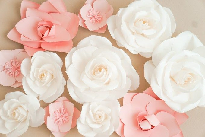 Blush Pink and Ivory Paper Flowers...