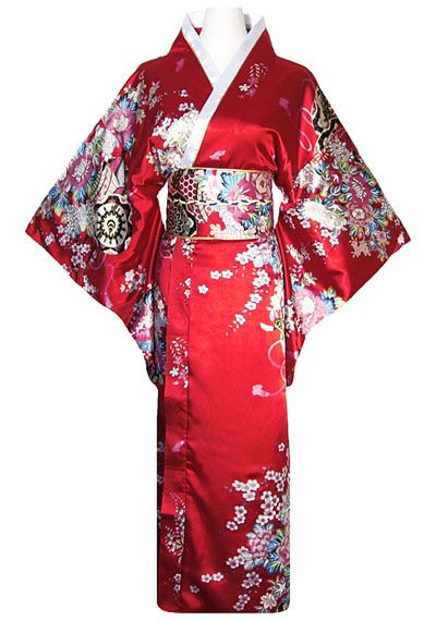 Kimono japonais geisha rouge avec obi for Style japonnais