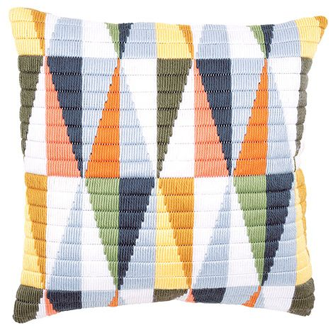 Triangles Long Stitch Cushion Front | sewandso