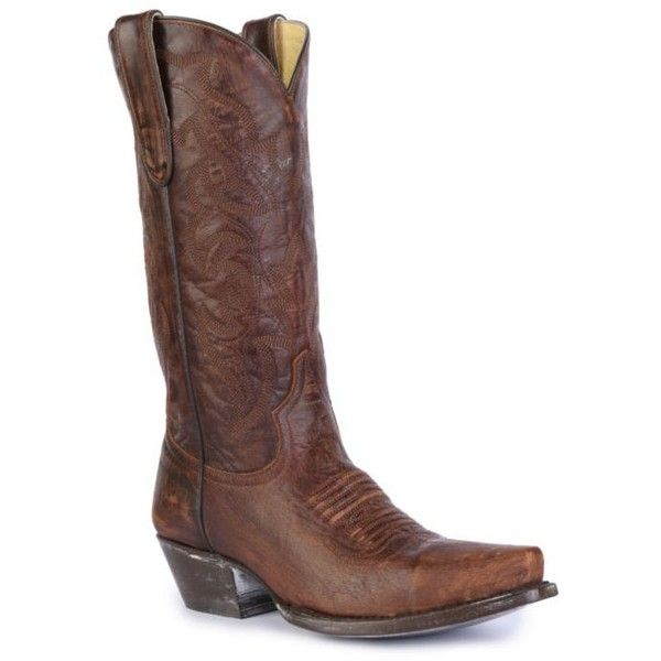 Southern Sole Boot Co.  Brass Western Tall Boots - Women's ($229) ❤ liked on Polyvore featuring shoes, boots, brass, tall cowgirl boots, western cowboy boots, knee high western boots, pointed toe cowgirl boots and tall cowboy boots