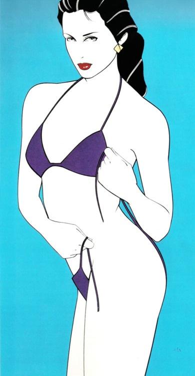 Patrick Nagel - Untitled acrylic on board Playboy illustration