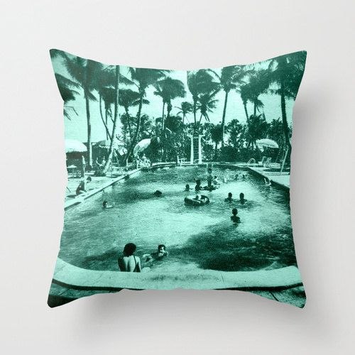Decorative Pillow  | Throw Pillow Cover | Pool Afternoon | Vintage Florida Image | Black and White | aqua color | Swimming | Pool House