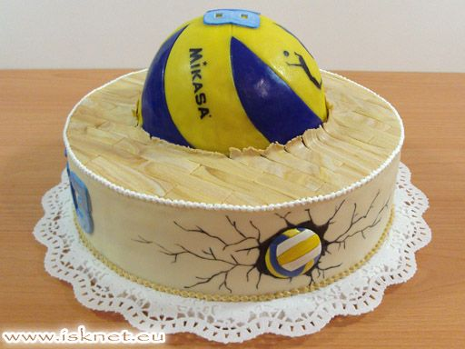 Mikasa Volleyball Cake Torta volejbalová lopta _ <b>volley ball</b> - <b>volleyball</b>, <b>mikasa</b> _ <b></b>