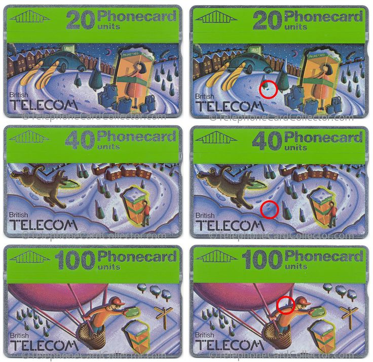 Spot the printing errors on the Christmas 1990 set of three BT Phonecards.  The cards on the left are correct, while the cards on right all have a printing error. The most famous appearing on the 20unit card - named the 'extra footprint'.