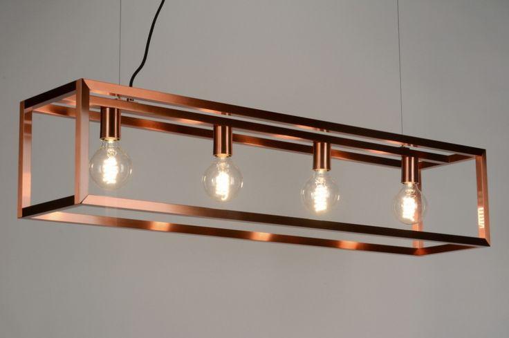 artikel 88905 grote ruimtelijke hanglamp met daarin 4 globe kooldraad lampen deze moderne. Black Bedroom Furniture Sets. Home Design Ideas