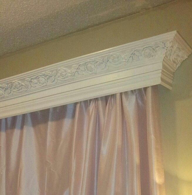 Window valance that my husband made using leftover stuff from earlier projects.