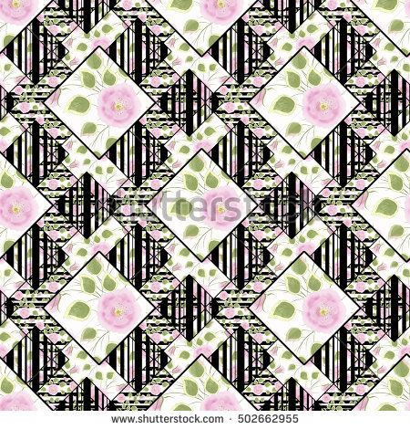 Patchwork abstract seamless floral, pattern texture light background with decorative elements. delicate pink flowers.