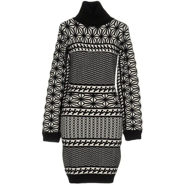 Dsquared2 Short Dress ($550) ❤ liked on Polyvore featuring dresses, black, long sleeve turtleneck dress, long-sleeve mini dress, turtleneck mini dress, long sleeve dress and print dresses