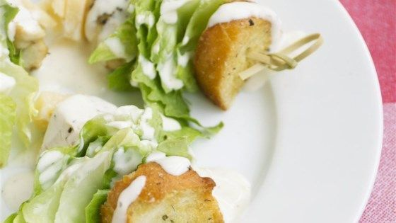 Chicken Caesar salad on a stick is a quick and easy version of the classic Caesar salad and perfect for parties.
