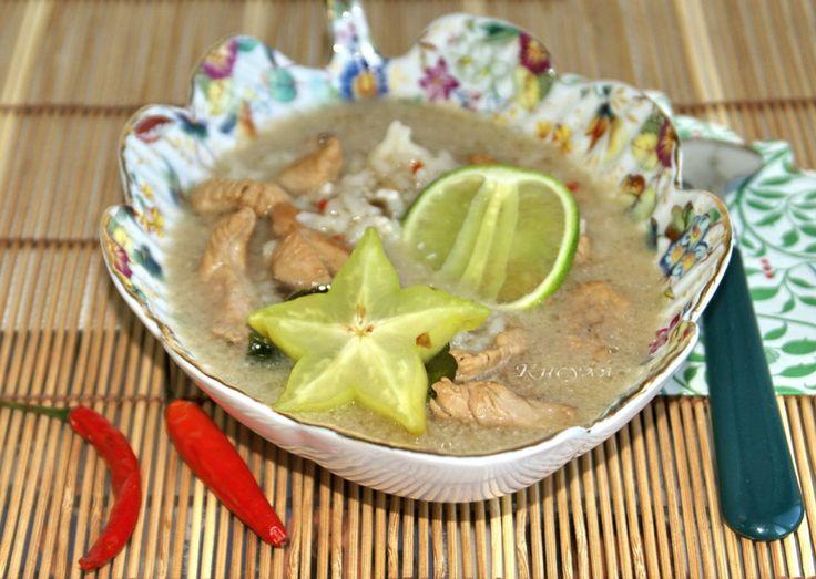 рисовый суп с курицей в тайском стиле