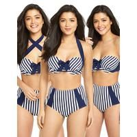V by Very Controlwear Underwired Multiway Bikini Top From V by Very's Controlwear range, this bikini top has a multi-way design that keeps you confident as you switch up your look. Underwired, it offers plenty of uplift and support, while the navy and white striped pattern and bow between the cups lends a nautical feel. Wear with the straps as normal or cross them over. On days when you want to go strap-line free, just remove them.  Styling Ideas  Pair with the matching high waisted bikini…