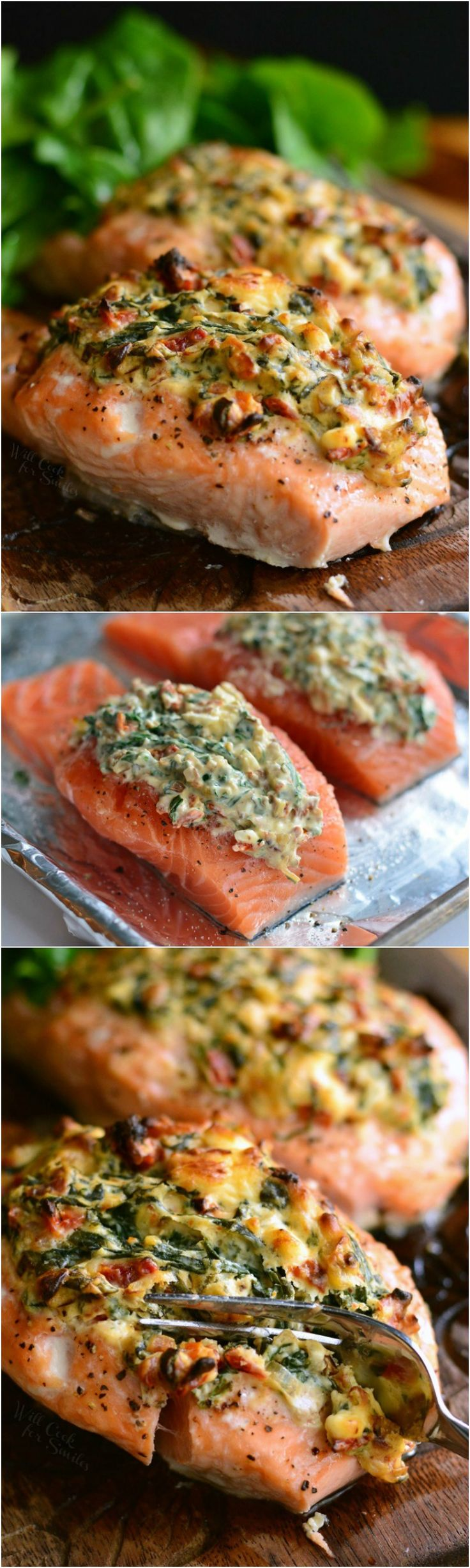 Creamy Spinach and Sun Dried Tomato Stuffed Salmon.  Baked, juicy salmon that is stuffed with an easy sun-dried tomato, spinach, and cream cheese mixture. #salmon #stuffedsalmon #bakedsalmon