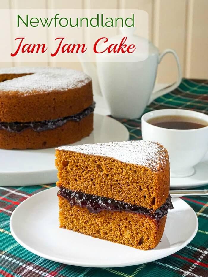 Newfoundland Jam Jam Cake with title text