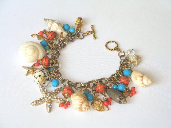 50's Shell and Bead Charm Bracelet
