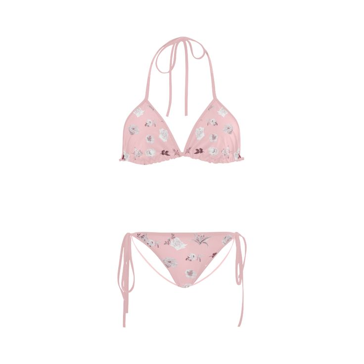 New! Romance collection of vintage Pink bikini. Edition 2016 with hand-drawn Original Floral Art. Custom Bikini Swimsuit
