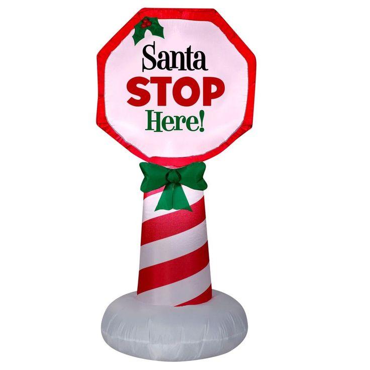 #Outdoor #Inflatable #Airblown #Santa #Stop #Sign #Christmas #Home #Garden #Yard #Decor New