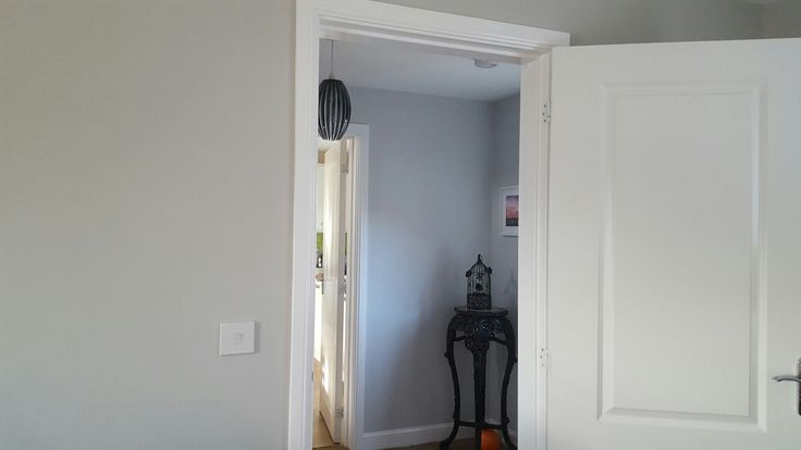 Dulux polished pebble (far wall) and goose grey (near wall)