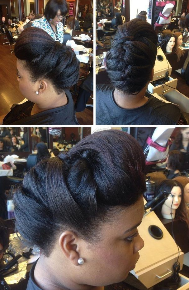 Chic Updo on Blown Out Natural Hair - http://community.blackhairinformation.com/hairstyle-gallery/updos/chic-updo-blown-natural-hair/