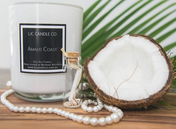 Large AMALFI COAST Soy Candle. 90 Hour burn time. by LJCCandleCo