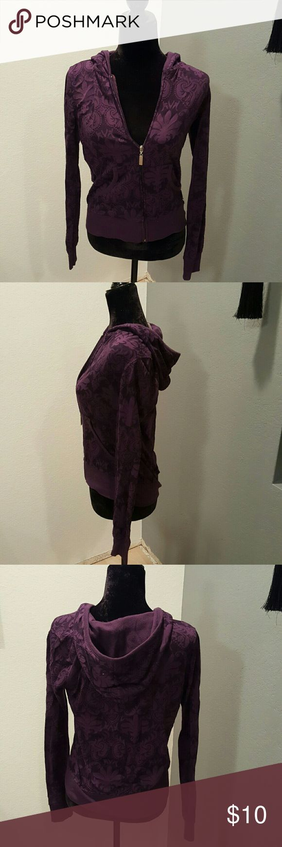 Purple Zip Up Hoodie- Size L This is a pre-loved, light weight hoodie in a great purple color. w 2 pockets, full zippered front,  hood is a thermal lined. Jacket has nice floral pattern through out. Cotton/polyester blend. Great condition! Bundle it for discount 💕 Tops Sweatshirts & Hoodies